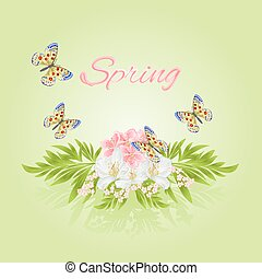 Spring cherry blossom and jasmine with butterflies vector