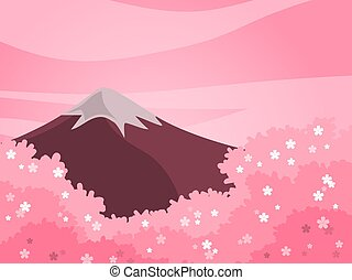 Spring cherry blossom and mountain background in pink tone color.