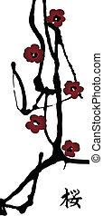 "spring cherry blossom vertical banner with hieroglyph ""sakura"""