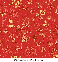 Spring Chinese Flowers. Vector Seamless Pattern