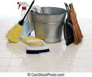 spring cleaning - cleaning supplies: spray bottle, broom,...