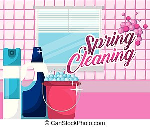 spring cleaning concept - bathroom bucket air freshener...