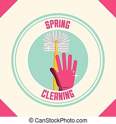 spring cleaning concept - pink rubber glove with brush...