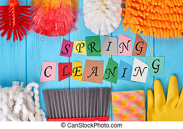 Spring cleaning concept with supplies.