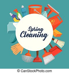 spring cleaning design concept with supplies vector...
