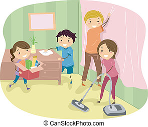 Spring Cleaning - Illustration of a Family Doing Some Spring...