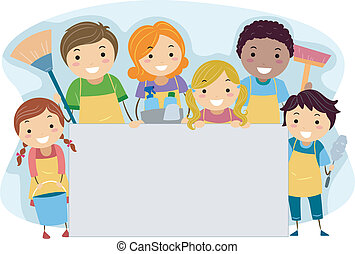 Illustration of a Family All Set Up for Cleaning