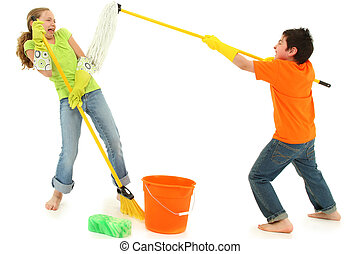 Spring Cleaning Kids with Boy Putting Mop in Girls Face -...