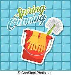 spring cleaning red bucket gloves brush blue tile background