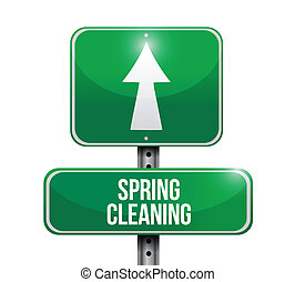 spring cleaning road sign illustration design over a white...
