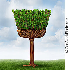 Spring Cleaning - Spring cleaning concept with a tree and...