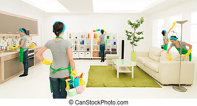 woman cleaning house at the same time in different places while one is supervising progress