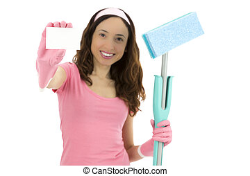 Spring cleaning woman showing blank sign card