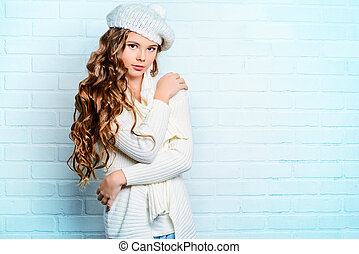 spring clothes - Cute teenager girl with beautiful long...