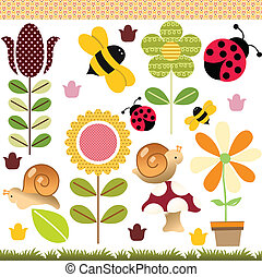 Scalable vectorial image representing a spring collage, isolated on white.