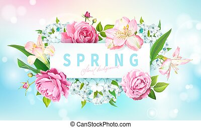 Spring collection background - Beautiful floral background...