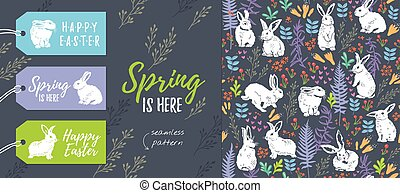 Spring collection. Set of Easter tags and seamless pattern