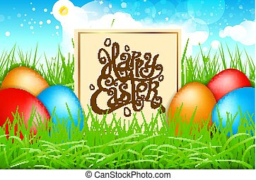 Spring Colorful eggs in a field of grass with blue sky. happy easter lettering modern calligraphy, vector