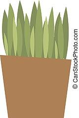 Spring colorful garden grass in pot vector.