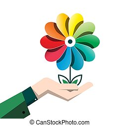 Spring Colorful Vector Flower in Human Hand Isolated on White Background - Earth Day Symbol