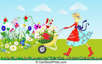 Spring - composition with colorful flowers and a girl that ...