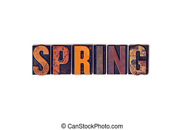 Spring Concept Isolated Letterpress Type