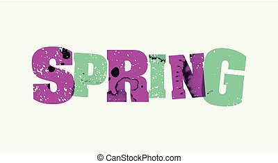 Spring Concept Stamped Word Art Illustration