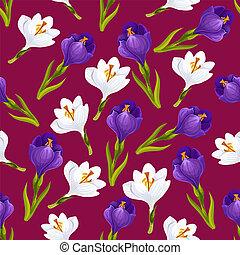 Spring crocus flower seamless pattern, vector