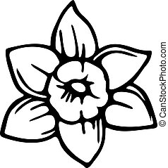 Spring Daffodil - Simple black and white line drawing of a...