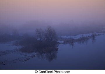 Spring dawn over the river.
