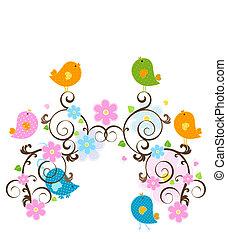 spring design - spring scene, wildlife