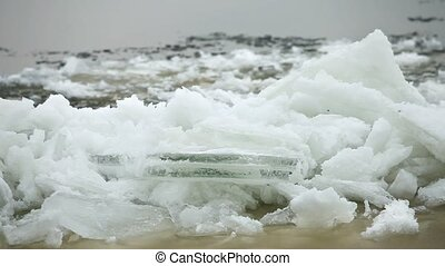 spring drifting ice - Ice floe  from drift ice driven ashore
