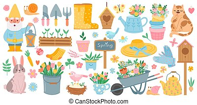 Spring elements. Blooming flower, cute animals and birds. Springtime garden decoration, birdhouse, tool and plants, drawn cartoon vector set