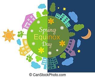 Spring equinox half day half night, vector illustration.