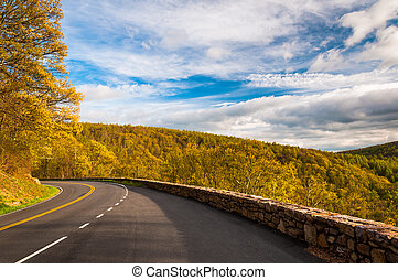 Spring evening on Skyline Drive in Shenandoah National Park,...