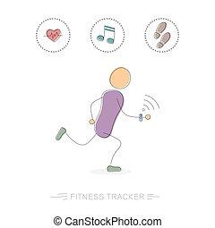 spring, förföljare, man, fitness