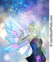 Spring Fairy - Fantasy illustration with fairy on colorful...