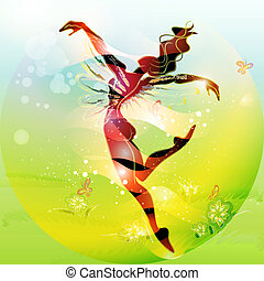 Spring Fairy Tale (young woman dansing in spring time)