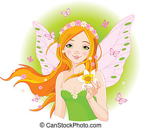 Illustration of beautiful spring fairy with narcissus