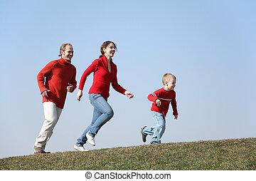spring, familj, son