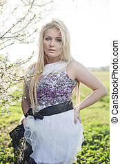 Spring fashion plus size blonde model