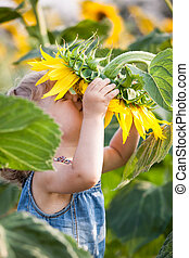 Spring feeling - Child smelling sunflower in spring field