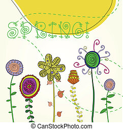 Spring background with decorative flowtrs, sun and text. Vector illustration.