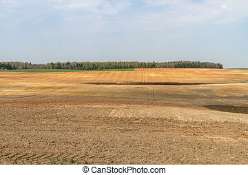 spring field image - Lithuania spring plowing fields, ...