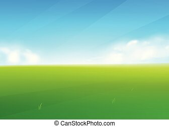 Spring field nature background with green grass landscape, clouds, sky