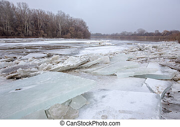 Spring flood, ice floes on the river