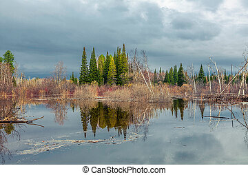 Spring flooding in Siberia