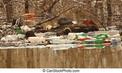 Spring flooding. Rubbish, ecology