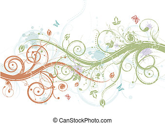 Spring floral - Abstract spring decorative floral, vector...