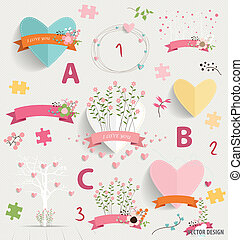Spring floral background with cute floral bouquets, heart,...